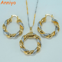Anniyo Round necklace earrings set jewelry Mix gold color jewelry women,Africa/Arab/Middle East