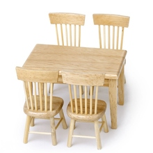 KiWarm Cute 5pcs 1/12 Miniature Dining Table Chair Doll House Wooden Furniture Set for Home Room Decor Ornaments Doll Gift