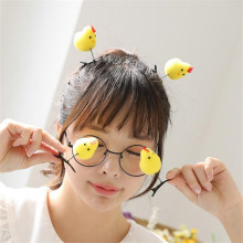 Novelty Cute Korean Women Girls Hair Clip Kawaii Chicken 3D Headband Hairpins Yellow Hair Accessories  Duck Barrettes 2pcs