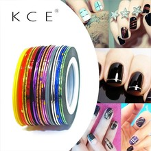 NEW 20pc/lot Beauty Blend Color Stickers Foil Tape Product Line DIY Nail Stickers French Manicure Nail Tools Decorations(China)