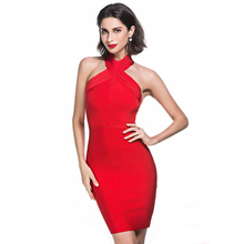 Buy 2018 New Arrival Sexy Sleeveless Halter Bandage Dress Bodycon Backless Shoulder Midi Dresses Celebrity Party Club Vestido