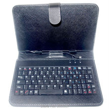 New 7 Inch Tablet pu Leather Stand Case Cover with Micro USB Keyboard with russian or hebrew text sticker(China)
