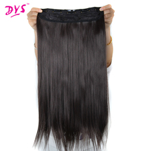Deyngs 24Inch Straight Clips in Hair Extensions 5 Clips on False Hairpiece Heat Resistant Synthetic Hair Piece For Women