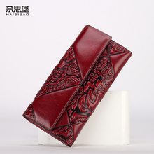High quality Chinese style Genuine Leather  women luxury brand fashion pattern Clutch Wallet  female purse free shipping