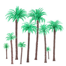Coconut Palm Trees Model for Railroad Layout Landscape Scenery Diorama Miniatures 14Pcs Coconut Palm Tree Model 1:50-1:500 Scale