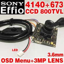 "Hot Sale 1/3""Sony CCD Effio 4140dsp+673 800tvl Finished HD Monitor mini camera board chip module 3.6mm 3.0mp lens osd menu cable(China)"