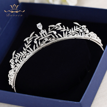 Bavoen High quality Leaves Brides Zircon Crystal Tiara Headbands Silver Leaves Evening Hair Accessories Wedding Hair Jewelry(China)