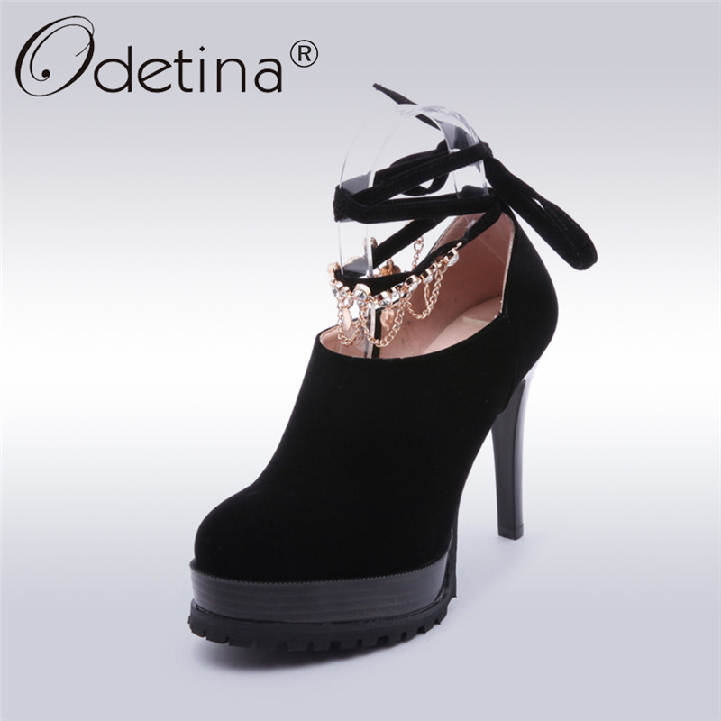 Odetina 2018 New Fashion Women Ankle Strap Pumps Platform Extreme High Heels Sexy Party Shoes Ladies Chain Round Toe Dress Pumps<br>