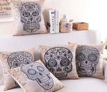 European Vintage Retro Style Floral Skull Cushion Cover Halloween Skulls Decorative Cushions Covers Linen Cotton Pillow Case