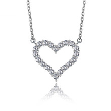 100% Silver 925 Jewelry Sterling Silver Necklace for Women Starry Big Love Heart Silver Pendant with Stone Come With Chain