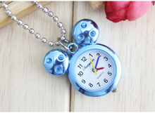 dropshipping micky&minnie Pocket Watch kids lady Numbers Dial With Necklace Chain key