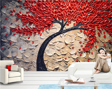 beibehang Custom 3D Wallpaper Red Fortune Tree Oil Painting Stereo Knife pen Background Wall Photo Wallpaper papel de parede(China)