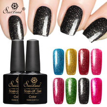 Saviland 10ml Colorful Shining Platinum Soak Off Semi Permanent Gel Lacquer 3D Shimmer Glitter Soak Off Gel Nail Polish