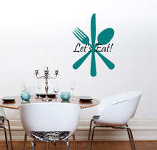 Kitchen Wall Decal Fork Knife and Spoon Art Mural Quote Let's Eat Wall Stickers Removable Vinyl Restaurant Interior Decor SYY368