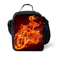 Brand lunch lunch bag flame ghost print pattern lunch box portable freezer picnic food bag lunch bag