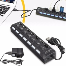 High Power USB Hub 7 Ports Universal High Speed ON/OFF Switch Adapter Cable LED Hub USB Splitter for PC Computer Notebook Laptop(China)