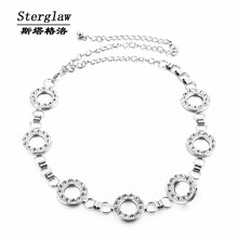 Silver Metal Circle rhinestone metal waist chain belt for women 2017 hot  fashion woman belt ceinture femme sterglaw F003