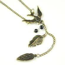 Vintage bronze swallow link leaf and beads pendant , antique Gold color necklaces,NL-1318A(China)