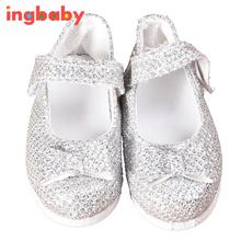 Silver Sapphire Doll Shoes For 18 Inch American Girls Small Shoes Girls DIY Dress Up Doll Game Simulation Sandals ingbaby WJ1096