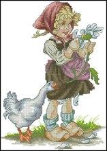 Высокое Качество Прекрасные Милые Счетный Крест Комплект Девушка с Гусь лука-s лука b1047(China)