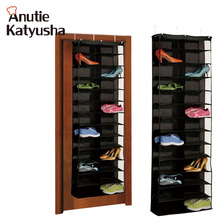 1Pc 26pairs Shoes Hanger Storage Bags Over The Door Hanging Organizer Groceries Rack Space Saver Boxes Home Organization(China)