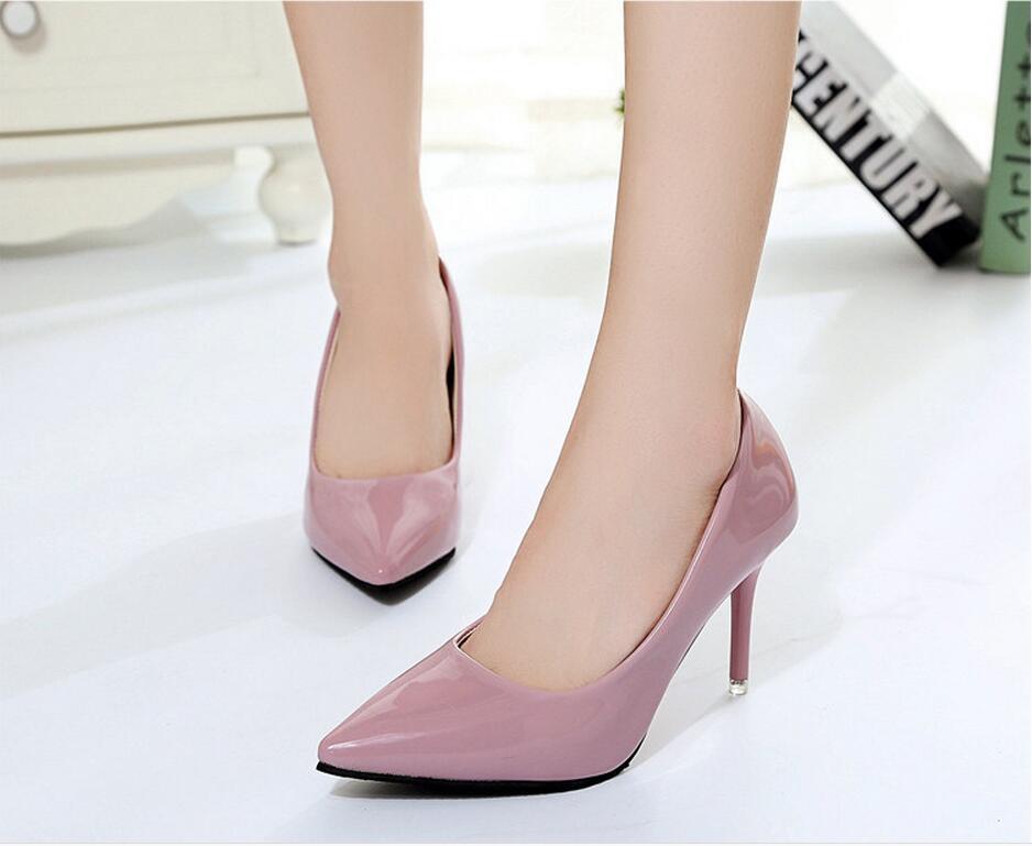 2018 Femmes Chaussures Bout Pointu Pompes En Cuir Verni Chaussures Habillées Talons hauts 31
