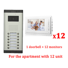 "7"" LCD Apartment Wired Video Door Phone Audio Visual Intercom Entry System 1 HD Outdoor Camera With 12 monitor"