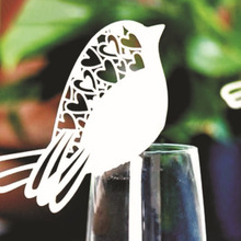 50Pcs/lot Bird Shape Wine Glass Place Cards Table Mark Name Paper Laser Cut Cards For Wedding Party Decoration(China)