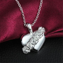 New Rose Heart Long Necklace Pendant 925 Sterling Silver Fashion Jewelry Women Plated Party Wedding Christmas Lover Gift(China)