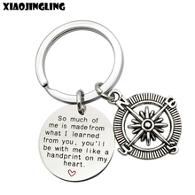 "XIAOJINGLING Top Quality ""So much of me is made from what I learned from you"" Charm Compass Key Ring Teacher Day Gift Keychain"