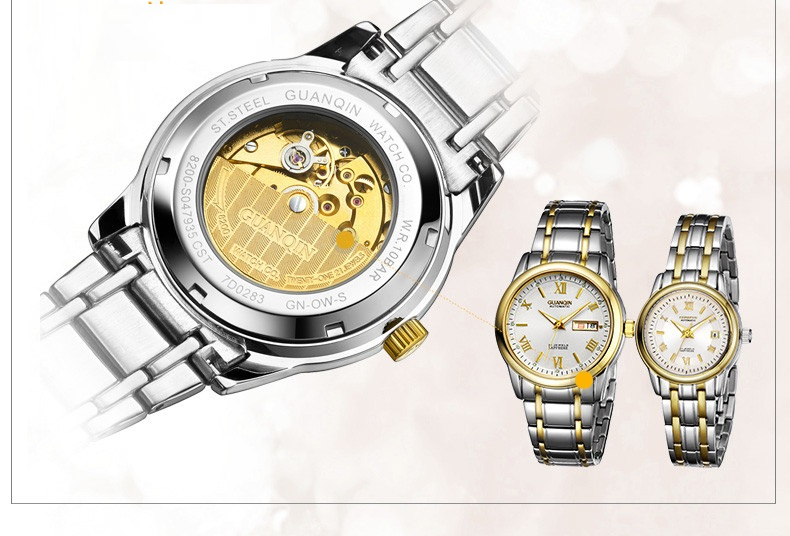 1 Pair GUANQIN Lovers Mechanical Watches Couple Automatic Watch Men Women Clock Auto Date Luminous Waterproof Brand Watch Men (19)
