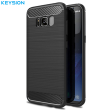 KEYSION Cover for Galaxy S7 S7 edge S8 S8 Plus Phone Cases Shell Carbon Fibre Brushed TPU Case for Samsung Galaxy S8 Phone Bag