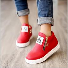 2016 New arrived Spring fashion girls boots children flat shoes zip red black pink PU ankle kid shoes size 26-36