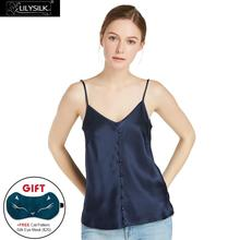 LILYSILK Women's Silk Camisole 22MM Wrapped Button Soft Comfortable Basic Lingerie for Ladies Navy Blue(China)