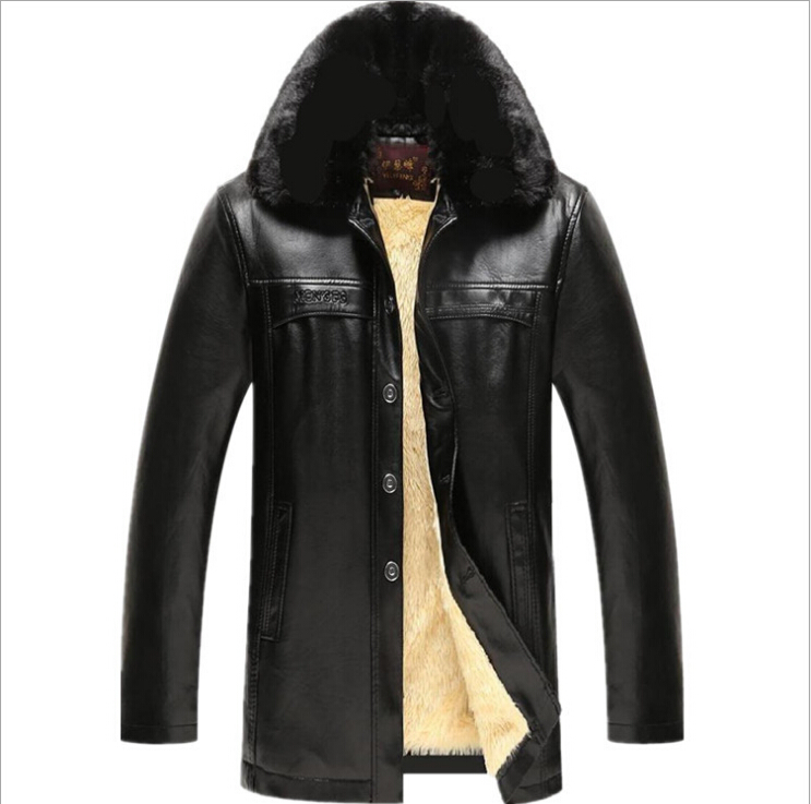 Men Winter Leather jackets Velvet thick warm Outwear Coats New Male against the cold Jackets  size 4XL Leather & Suede