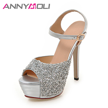 ANNYMOLI Women Shoes Platform High Heels Ladies Sandals Open Toe Thin Heel Bridal Shoes Size Big 33-43 Buckle Women Silver Shoes(China)