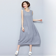 Summer Women Dress Big Size Fashion Draped Striped Sleeveless Female Tops Casual Solid Show Thin Vest Elegant Chiffon Dresses(China)