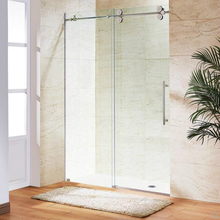 6.6FT Chromed Polished Stainless Steel Sliding barn shower door twin roller frameless glass sliding track hardware set kit