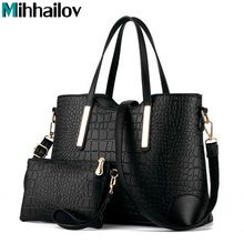 2017 women handbag leather hand bag michael crocodile crossbody bag shoulder messenger bags clutch tote+purse 2 sets sac B40-777