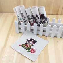 6Pcs/Lot Cat Printed Fabric Hand Dyed Pre-Cut Pet Cotton Fabric for Sewing Patchwork DIY  Doll Fabric Tilda Cloth Tissue 15x15cm