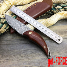 get-FORCE Damascus Hunting Knives Red Sandal Wood Handle Small Straight Knife Survival Tactical Knife Outdoor Knives Camping EDC