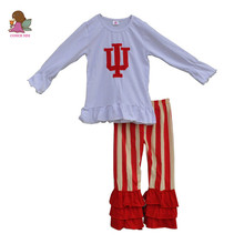 fashion letter I U embroidery tops ruffle pants boutique kids clothing cotton baby girls 2 pcs clothes children outfits F125(China)