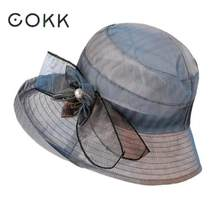 cb6a16127ec COKK Summer Hats For Women Gradient Color Flowers Sun Hat Visor Cloth Wide  Brim Beach Hat Female Lady Panama Cap Chapeau Femme