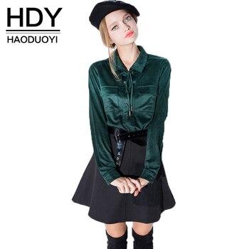 Hdy haoduoyi primavera de manga larga suede blusas bolsillos lazo del cuello camisas de las mujeres al por mayor y libre