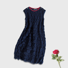 100% REAL SILK WOMEN Lace dresses Embroidery Fahion Short sleeves vestidos 2015 new Navy