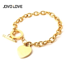 JOVO New Fashion Stainless Steel Link & Chain Bracelets Gold Silver Color Love Heart Bracelets Women Girl Birthday Gift(China)