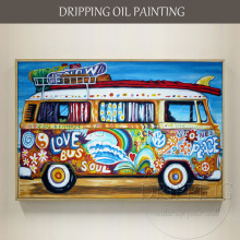 Painter Handmade High Quality Modern Wall Art Colorful Bus Oil Painting on Canvas Big Car Caravan Oil Painting for Living Room(China)