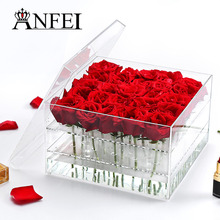 25Holes Handmade Custom Packaging Acrylic Flower Box Holder Display Clear Gift Rose Boxes Makeup Organizer Cosmetic Box With Lid