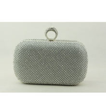 Super Luxury Evening Purse Women Full Crystal Clutch Finger Ring Evening Bags Clutch Purse Bling Bag Gold Silver Black