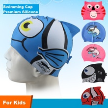 Swimming Cap children kids cartoon pattern silicone gel waterproof protection thermal diving caps boys girls